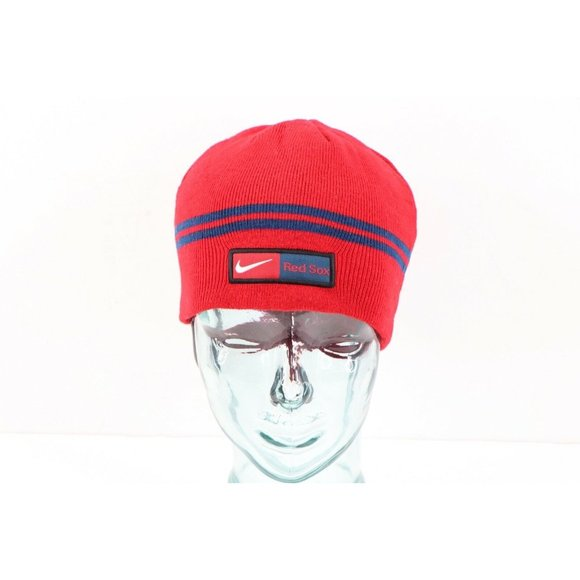 Vintage Nike Boston Red Sox Baseball Mini Swoosh Spell Out Winter Beanie Hat Red